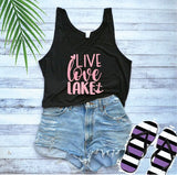 Live Love Lake Print Women's Flowy Boxy Stylish Crop Tank Soft Fitted Tank Custom Tank Top Custom Personalized River Boat