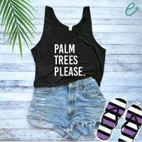 Palm Trees Please Print Women's Flowy Boxy Stylish Crop Tank Soft Fitted Tank Custom Tank Top Custom Personalized