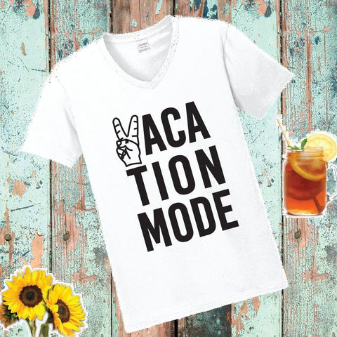 5cd4c3005 Vacation Mode Print Custom Women's V-Neck T-shirt Shirt Tee Personalized  Relaxed Fit