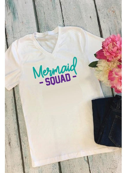 Mermaid Squad Print Custom Women's V-Neck T-shirt Shirt Mom Mother Girls Tee Personalized Relaxed Fit Tee