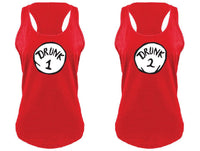 Drunk 1 and Drunk 2 Tank Tops Fun Funny T-shirt Drinking Tee Women's V-Neck T-shirt Relaxed Fit Tee
