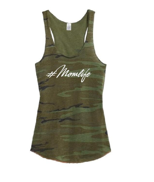 Mom Life Women's Camo Scoop Neck Racer back Hashtag Mother Tank Top Country Shirt Soft Camoflauge Tank Top Green Cami