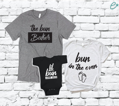 44bdedbe95f2d Bun In The Oven The Bun Baker and Lil Bun with Arrival Date Shirt Set Baby
