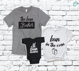 Bun In The Oven The Bun Baker and Lil Bun with Arrival Date Shirt Set Baby Announcement Graphic Tees Mom & Dad to be Matching Bodysuit