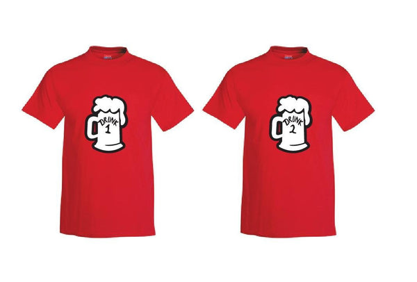 Drunk 1 and Drunk 2 Beer Mugs Custom Mens Graphic Tee Unisex Fit T-shirt for Men Funny Shirts Drinking Shirt Red or Your color Choice