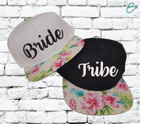 Bride and Tribe Snapbacks Hawaiian Floral Print Snapback Bachlorette Party Hats Wedding Party Hats