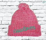 Custom Pom Pom Beanies Pink and White Knit Hats Monogram Hats Custom Embroidery Hats