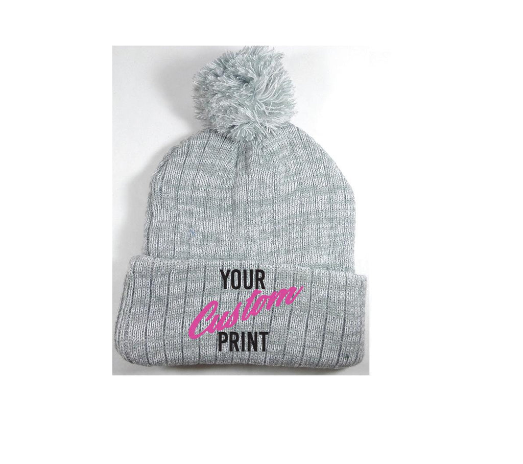 6842df10646 Custom Pom Pom Beanies Grey and White Knit Hats Monogram Hats Custom  Embroidery Hats