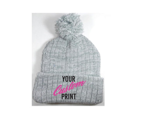 Custom Pom Pom Beanies Grey and White Knit Hats Monogram Hats Custom Embroidery Hats