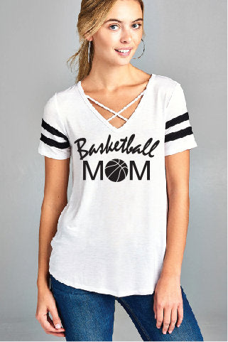Basketball Mom Women's V-Neck T-shirt Criss Cross Neck Line Ladies Shirt Custom Empower Fitted Tee