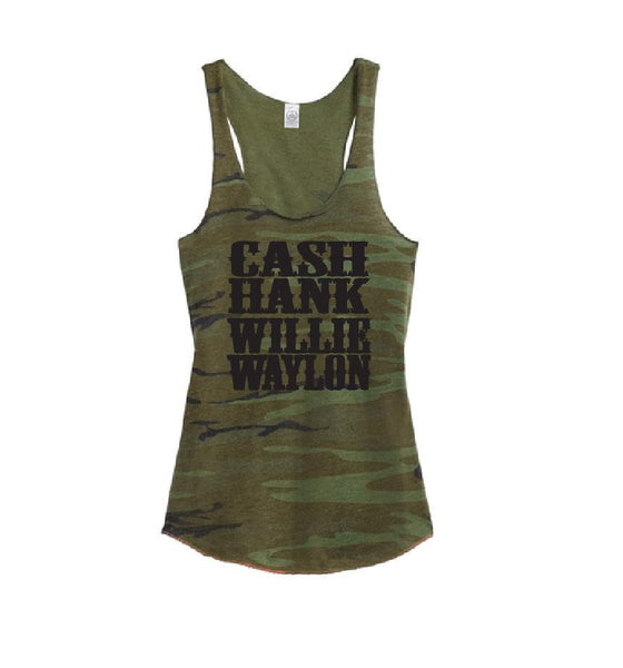 Cash Hank Willie Waylon Women's Camo Scoop Neck Racer back Tank Top Country Shirt Soft Camoflauge Tank Top Green Cami