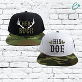 Her Buck His Doe Couples Hats Camo Snapbacks Black and Camouflage Hats Couple Hats Honeymoon Hats