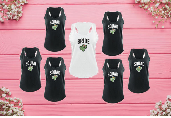 Bride Squad Cactus Women's Racerback Gathered Back Tank Custom Tank Top Custom Personalized Bridal Party Long Fitted Tank