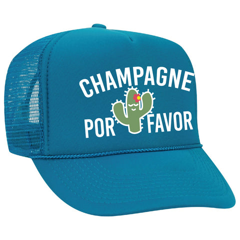 Champagne Por Favor Cactus Trucker Hats Mesh Back Snapback Hat Gift for Bridesmaids Your Color Choices Cheers Camping Sun Visor Cute
