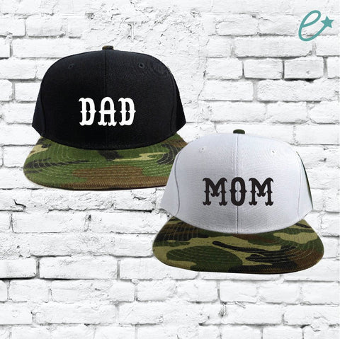 Mom and Dad Couples Hats Camo Snapbacks Black and Camouflage Hats Couple Hats Baby Announcement