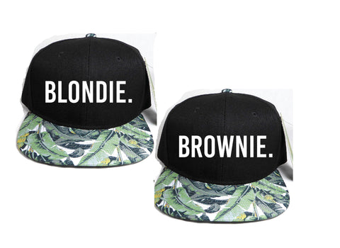 Blondie and Brownie Hawaiian Snapback Hats Palm Trees Blonde and Brunette Hats Best Friend Snapbacks Flatbill Hats Couple Pair
