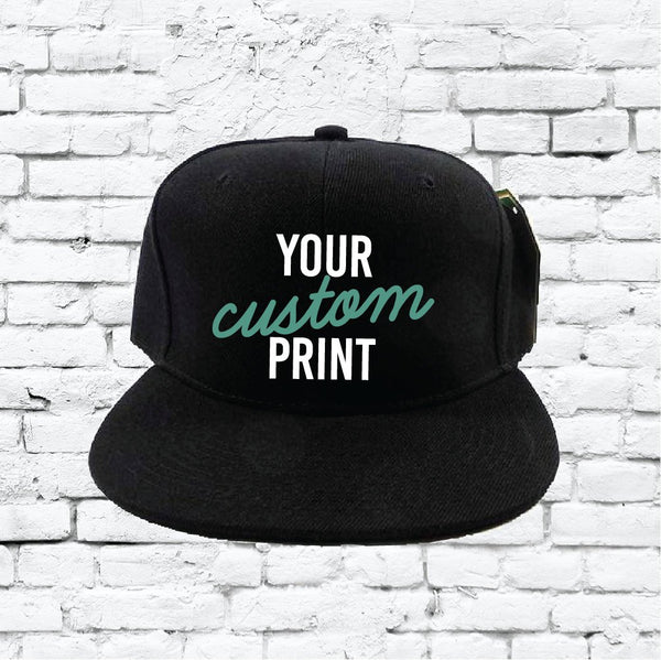 Custom Embroidery Snapback Hat Black Embroidered Hat Your Color Choice Custom Embroidery Solid Black Flat Bill Snapback