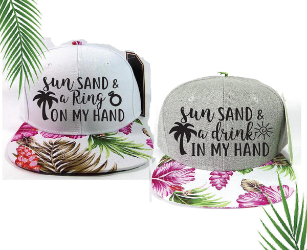 Bride and Squad Snapbacks Sun Sand and Ring on My Hand Drink in My Hand Hawaiian Floral Print Bachlorette Party Hats Wedding Party Hats