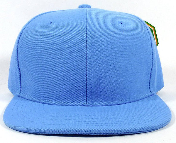Custom Embroidery Snapback Hat Light Blue Embroidered Hat Your Color Choice Custom Embroidery Solid Black Flat Bill Snapback