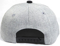 Custom Embroidery Snapback Hat Black and Heather Grey Embroidered Hat Your Color Choice Custom Embroidery Two Tone Flat Bill Snapback