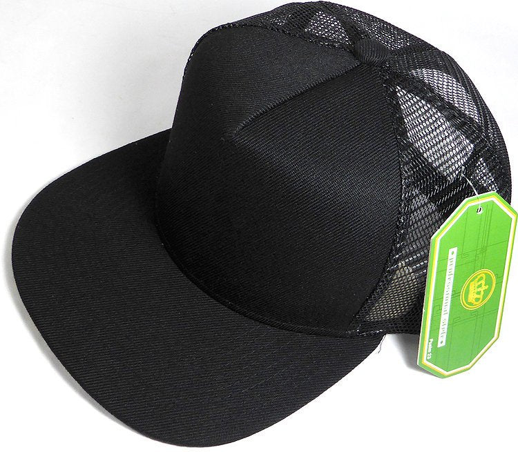 b91745e9d18f1 Custom Embroidery Black Trucker Hat Snapback Flat Brim Solid Hat with Mesh  Back Snapback