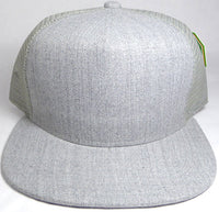 Custom Embroidery Heather Grey Trucker Hat Snapback Flat Brim Solid Hat with Mesh Back Snapback