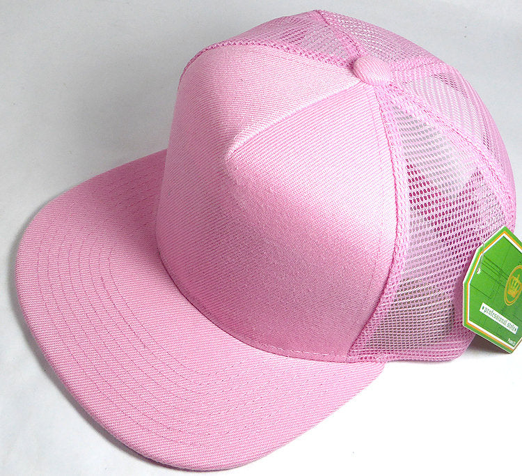 4ced81a0e20769 Custom Embroidery Light Pink Trucker Hat Snapback Flat Brim Solid Hat with  Mesh Back Snapback