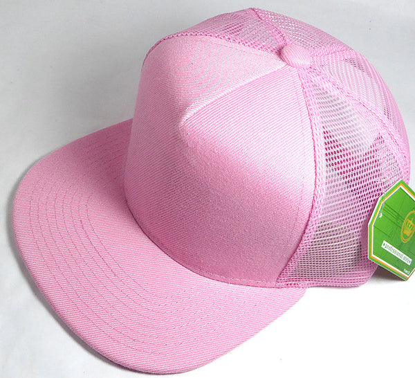Custom Embroidery Light Pink Trucker Hat Snapback Flat Brim Solid Hat with Mesh Back Snapback