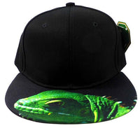 Custom Embroidery Black Snapback Iguana Lizard Reptile Print Hat Adjustable Custom Cap Allover