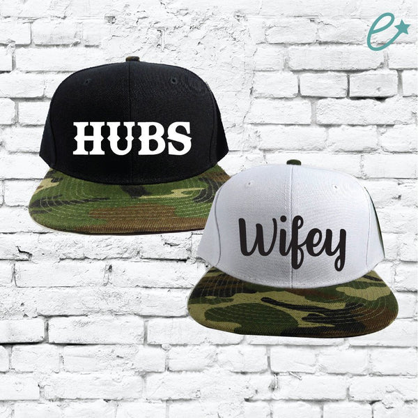 Hubs and Wifey Snapbacks Custom Print Snapbacks Couple Snapback Camo and Black and White Hats Mix and Match Hats Honeymoon