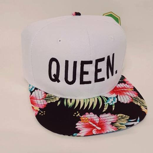 Queen Snapback White Hawaiian Print Snapbacks Couple Snapback Couple Hats