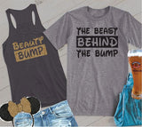 Beauty Bump and The Beast Behind the Bump Couples Funny Graphic Tee Tank Top Pregnancy Baby Announcement Shirts T-shirt Gift for New Parents