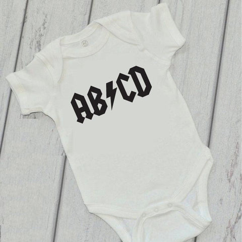ABCD Baby Bodysuit Custom Infant T-shirt Personalized Baby Fine Jersey Shirt Baby Funny Infant