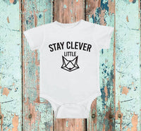 Stay Clever Little Fox Baby Bodysuit Custom Infant T-shirt Personalized Baby Fine Jersey Shirt Baby Funny Infant