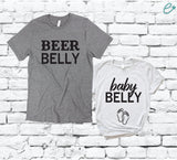 Beer Belly and Baby Belly Tees Baby Feet Belly Shirt Baby Announcement Pregnancy Reveal Graphic Tee Unisex T-shirt Gift for New Parents