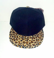 Youth Custom Embroidery Leopard Hat Snapback Childs Cheetah Brim Solid Sueded Brush Cap Black Hat Toddler Personalized Lid