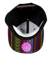 Custom Embroidery Aztec Snapback Black and Multi Color Two-tone Aztec Zig Zag Hat Your Custom Text or Logo Red Yellow Maroon Pink Blue Green