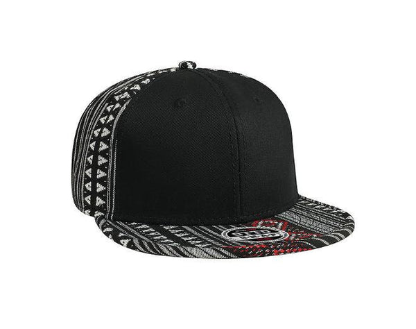 Custom Embroidery Aztec Snapback Black Red and White Two-tone Aztec Hat Your Custom Text or Logo Personalized Snapback Front Panel