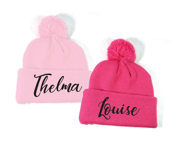Thelma and Louise Embroidery Pom Pom Beanie Custom Knit Hats Throwback Winter Hat Personalized Hats