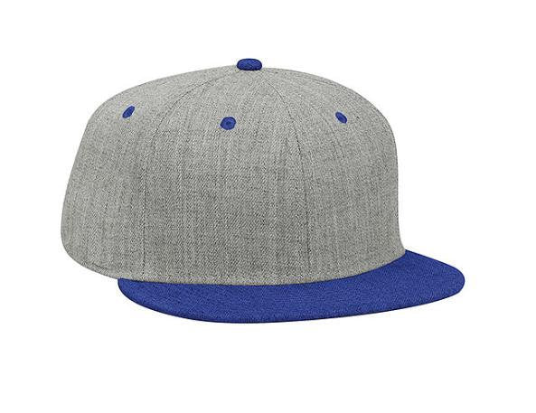 Custom Embroidery Snapback Hat Royal Blue and Heather Grey Embroidered Hat Your Color Choice Custom Embroidery Two Tone Flat Bill Snapback