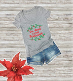 Go Jesus It's your Birthday Women's V-Neck T-shirt Christmas Holiday Tee Custom Shirt Merry Christmas Graphic Fitted Tee Wreath Shirt