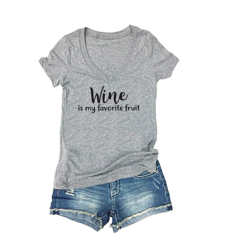 9b169d098 Wine is my Favorite Fruit Tee Women's V-Neck T-shirt Funny Alcohol Tee