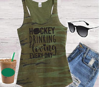 Hockey Drinking & Loving Everyday Women's Camo Scoop Neck Racer back Tank Top Shirt Soft Camoflauge Tank Top Green Cami
