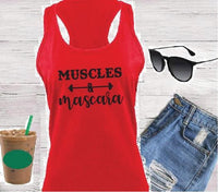 Muscles and Mascara Women's Racerback Gathered Back Tank Custom Tank Top Custom Personalized Fitted Tank Sports Wear