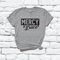 Mercy and Grace Shirt Christian Graphic Tee Unisex Crew Neck T-shirt Custom Colors Shirt Relaxed Retail Fit Tee