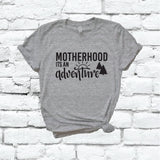 Motherhood is an Adventure Shirt Christian Graphic Tee Unisex Crew Neck T-shirt Custom Colors Shirt Relaxed Retail Fit Tee
