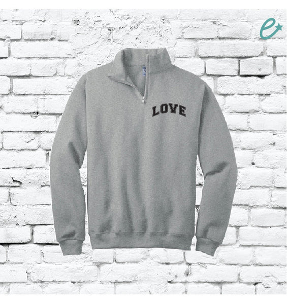 Love Quarter Zipper Sweatshirt Pullover Personalized Colors Sweatshirt Quarter Zip Collar Sweater