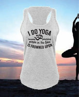 I do Yoga because punching people in the face is frowned upon Women's Racerback Gathered Back Tank Custom Tank Top Custom Fitted Tank