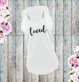 Loved Women's Racerback Gathered Back Tank Custom Tank Top Custom Personalized Fitted Tank Sports Wear