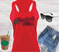 Football Mom Women's Racerback Gathered Back Tank Custom Tank Top Custom Personalized Fitted Tank Sports Wear